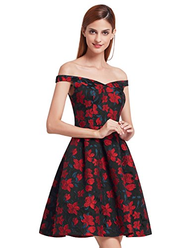 Ever-Pretty V Neck Fit and Flare Party Dress 05946
