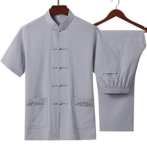 Mr. Hao Tai-Chi-Uniform-Kleidung, chinesischer Stil, Halbarm-Shirt, Anzug, mehrfarbig, grau, S