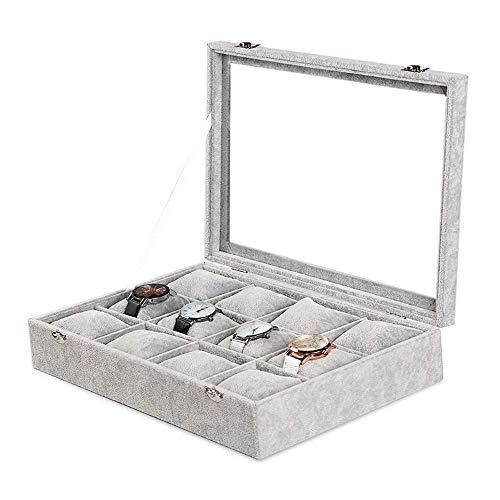 Grey Velvet Watches Organizer 12 Grid Watch Holder Jewelry Storage Box Display Case for Men and Women