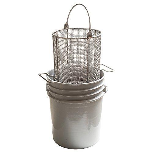 AnySizeBasket DND-095RND120-C04S 304SS Dip-and-Drain Mesh Basket, Swinging Loop Handle, Fits 5 gal Bucket (Bucket NOT Included), 9-1 2  Diameter x 12  H