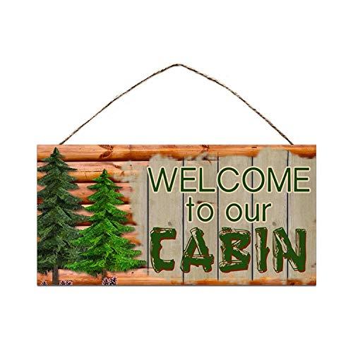 HNFT Welcome to Our Cabin, decoración de cabina, estilo rústico de madera, placa, regalo, decoración de campo, 20 x 30 cm