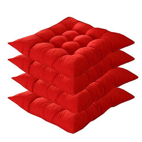 MIAO Cojines de Silla con Lazos Juego de 4, Cojines de Silla de jardín 40x40x5cm Cojines de Silla de Interior para Exterior para Silla de Cocina y Silla de Comedor (Rojo)