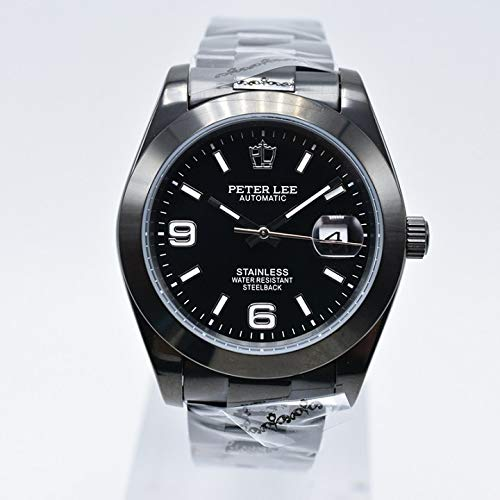 PLKNVT Fashion Brand Luxury Full Steel Bracciale Orologi da Lavoro Meccanici Automatici Automatici Quadrante Classico 38Mm Mens WatchBlack