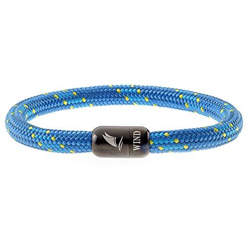 Wind Passion Pulsera Magnética Azul de Cuerda Nautica Trenzada para Hombre y Mujer, Tall Large