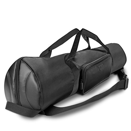 USA Gear Padded Tripod Case Bag - Holds Tripods from 21 to 35 inches - Adjustable Size Extension, Storage Pocket and Shoulder Strap for Professional Camera Accessories and Photo Carrying Needs (Black)