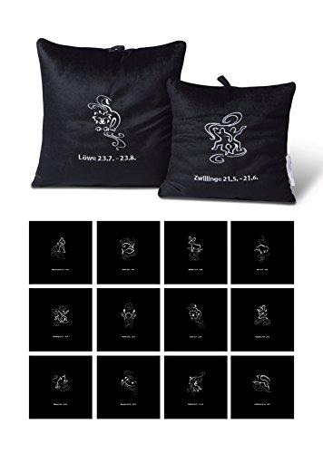 Kussen fluweel sierkussen geborduurd met horoscoop sterrenbeeld sierkussen microparels styroporkorrels #398 30x30 Maagd