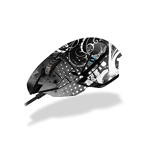 MightySkins Skin Compatible with Logitech G502 Proteus Spectrum Gaming Mouse - Black Flourish | Protective, Durable, and Unique Vinyl wrap Cover | Easy to Apply, Remove | Made in The USA