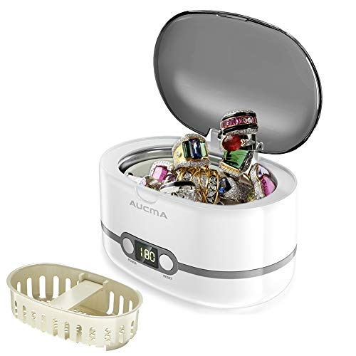 Aucma Ultrasonic Cleaner Professional Ultrasonic Jewelry Cleaners with Digital Timer for Jewellery Eyeglasses Lenses Necklaces Watches Rings Denture Coins, 20 Oz (Grey)