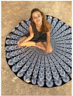 IAMZHL Bedruckte runde Strandtuch Stoff schnell komprimierte Handtuch Erwachsene Picknick Yoga Handtuch Mikrofaser Reise Yoga Decke Pilates Handtuch-Type 6