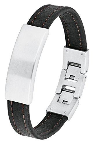 s.Oliver Herren-Armband Identarmband (gravurfähig) Edelstahl Leder 22 cm