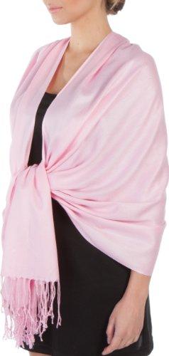 Sakkas Sakkas Silky Feste weiche Pashmina Schal Wrap Stola - Baby Pink