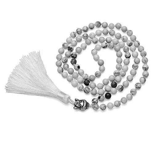 CrystalTears 108 Perlen Edelstein Yoga Armband Wickelarmabnd Chakra Buddha Buddhistische Tibetische Gebetskette Healing Reiki Mala Kette Halskette mit Quaste Anhänger (Weiß Howlite)