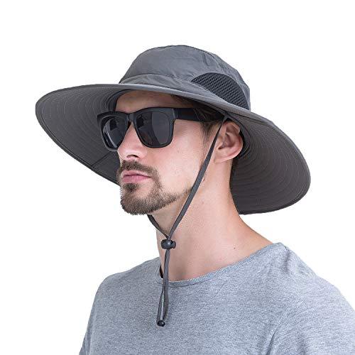 Sommerlicher atmungsaktiver Mesh-Hut mit breitem Rand Fischerhut mit verstellbarem Kordelzug zum Wandern, Traving, Outdoor.Momoon, Dunkelgrau, Kopfumfang: 60 cm