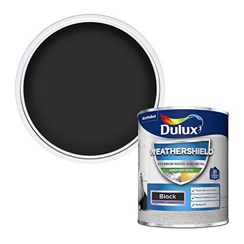 Dulux 5091519 Weather Shield Quick Dry Satin Paint, 750 ml - Black
