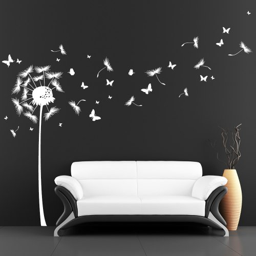Wandtattoo Pusteblume mit vielen Schmetterlingen - weiß - 120 x 198 cm