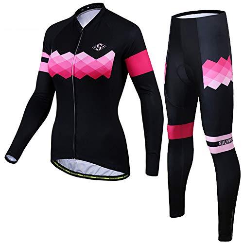 PGONE Frauen Winter Radfahren Jersey Rosa Farbverlauf Muster Sportbekleidung Hosen Strumpfhosen Combo Outdoor Road Bike MTB Kleidung Set (Size : XXX-Large)