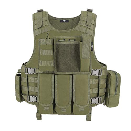 MGFLASHFORCE Tactical Airsoft Vest Adjustable Modular Paintball Vest (Green)