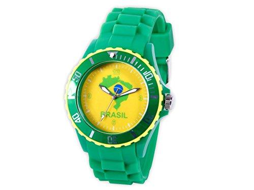 Alsino Armbanduhr WM EM Länder Silikon Uhren für Damen und Herren Silikonuhr, UR-Bra Brasilien