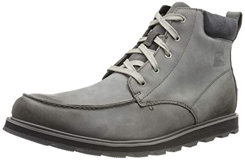 Sorel - Men's Madson Moc Toe Waterproof Boot, All-Weather Footwear for Everyday Wear, Quarry, 10 M US