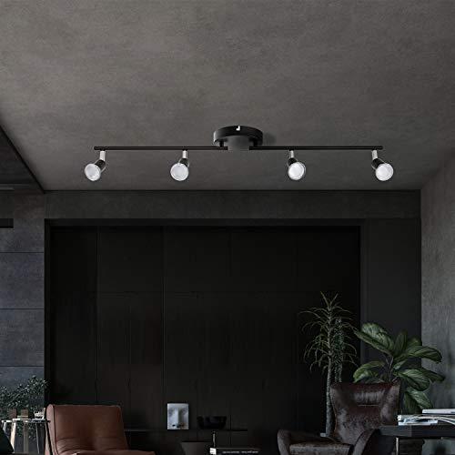 LED Deckenleuchte Schwenkbar GU10, AIBOO LED Deckenstrahler 4 Flammig Schwarz, Deckenspots Schwarz für Küche, Schlafzimmer, Wohnzimmer (Leuchtmittel nicht)