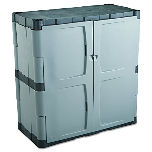 Rubbermaid Double-Door Storage Cabinet, 18' D x 36' W x 37' H, Gray/Black, FG708500MICHR