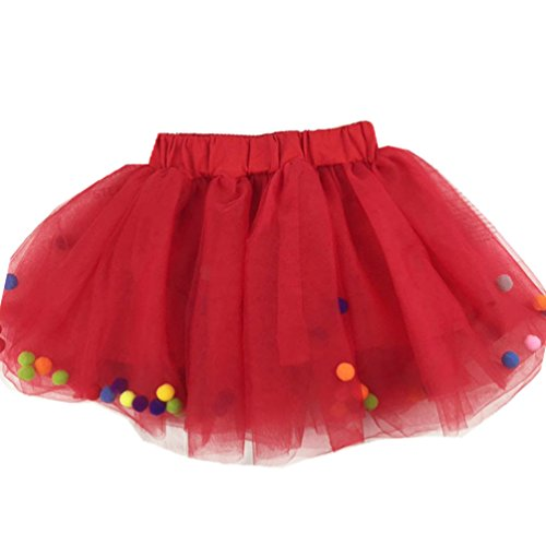 MizHome Baby Girls Tutu Dress Multi-Layer Tulle with Pompom Balls Dress for Toddler Girls RED M