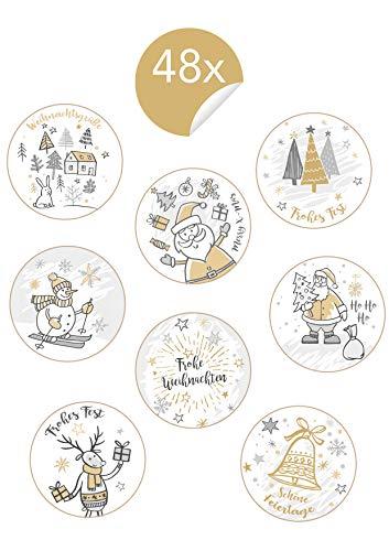 Edition Seidel 48 schöne Weihnachtsaufkleber rund 4 cm Durchmesser. Geschenk-Aufkleber Verpackung Weihnachten Geschenk Papiertüten Sticker Etiketten Aufkleber