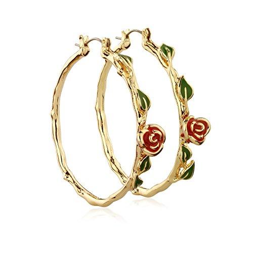 Pendientes de Disney Couture Kingdom Princesa chapadas en oro con la rosa de la Bella y la bestia Mujer