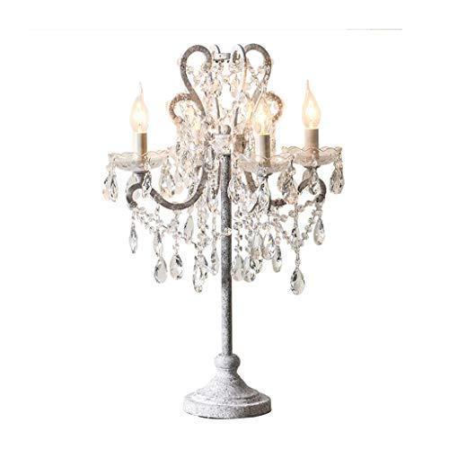 BJLWTQ Iluminación decorativa, Reading lámpara- de noche y lámpara de mesa de cristal de lujo Lámparas de mesa dormitorio de la lámpara de estar Sala de Estudio retro simple lámpara de cabecera románt