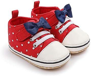 Geagodelia Zapatos de bebé para bebé, unisex, antideslizantes, con suela blanda, con lazo, para primeros pasos, 0 – 12 meses rojo 0- 6 Meses