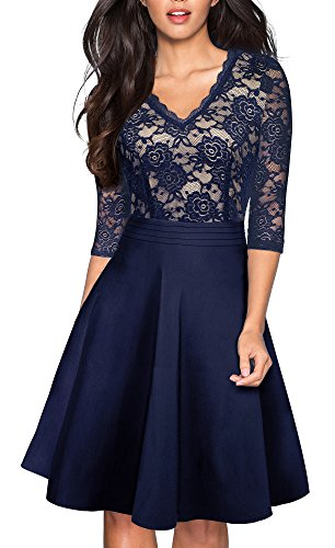 HOMEYEE Women's Chic V-Neck Lace Patchwork Flare Party Dress A062 (4, Dark Blue)