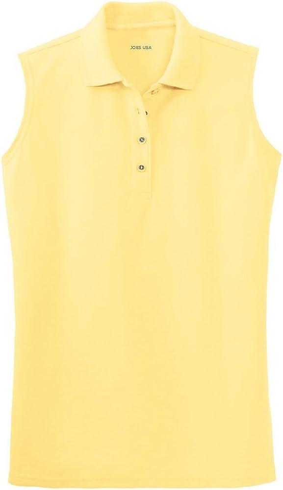 Joe's USA(tm) - Women's Silky Touch Sleeveless Polo Sport Shirts-3XL