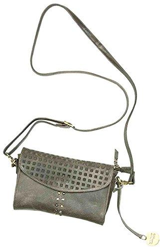 Gilde Leder clutch Bellahunt0370 grijs met afneembare draagriem L = 5,5 x B = 15 x H = 24 cm