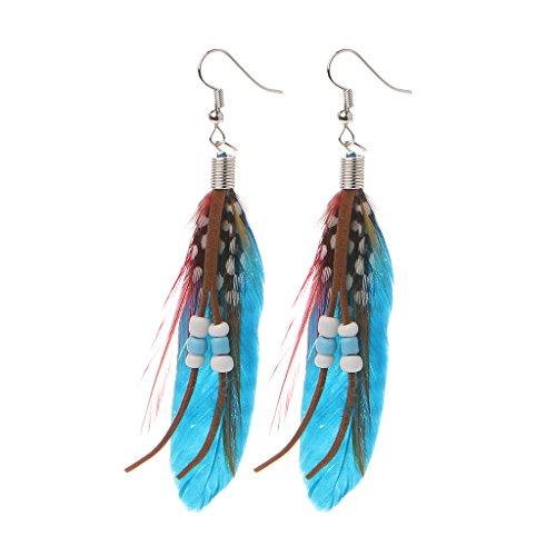 Haptian - Pendientes para Mujer, 1 par de Bohemios, Hechos a Mano, Plumas de Ganso Naturales, Perlas borlas y árboles, Color Azul Claro