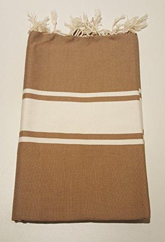 Toalla de baño o sauna, 100 x 200 cm, 100 % algodón, con flecos anudados a mano, muy absorbente, secado rápido, color marrón claro con rayas blancas