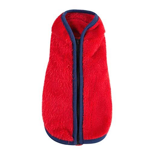 Yowablo Haustierhundekatze kleidet Reißverschlussvlies (S,Rot)