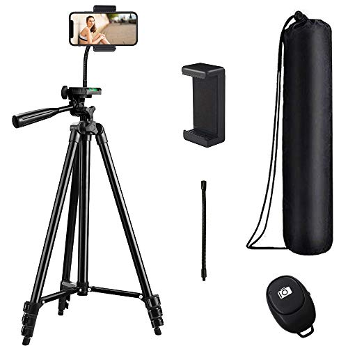 62 inch Phone Tripod, Lightweight Compact Travel Tripod, Video Tripod with 3-Way Head Plus Wireless Remote and Phone Holder for Vlog/Live Stream Compatible with iPhone/Andorid