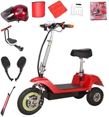 CYGGL Vélo électrique Pliable à 3 Roues pour vélos électriques (Avant 12 Pouces, arrière 10 Pouces), Batterie Portable au Lithium 12A, Mini Pliage Rapide Portable (Monoplace Rouge)