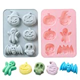 2 Pack Halloween Silicone Cake Mold Pumpkin Bat Skull Ghost Shape Silicone Mold for Chocolate Candy Gummy Jello Ice Cube Crayon Melt Biscuits, Soap Molds Silicone Baking Mold Making Kit for Kids