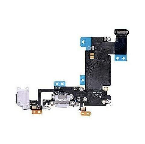 E-Fix - Conector de carga para iPhone 6s+ Plus, color gris claro - Cable con conector de carga, conector Jack, micrófono y antena GSM - Compatible con Apple para reparación