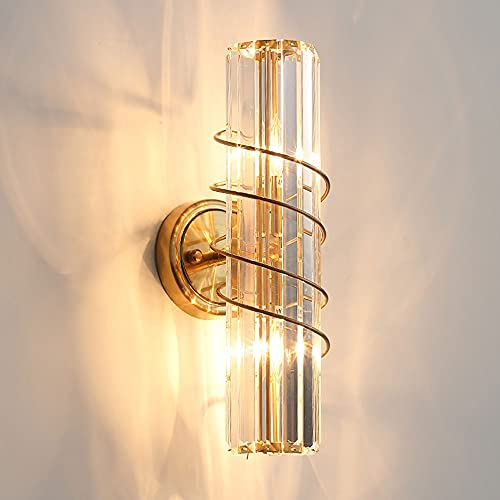 Crystal Wall Light Moderno Wall Sconte Lámpara Cabecera iluminación de Encaje, Luces de Lavado de Pared Interior Dorado Metal Apliques para Dormitorio Cama de cabecera Hotel Decoración del hogar