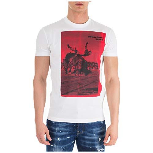 Dsquared2 Herren T-Shirt Kurzarm Kurzarmshirt runder Kragen Weiß EU XL (UK XL) S71GD0712S22427100