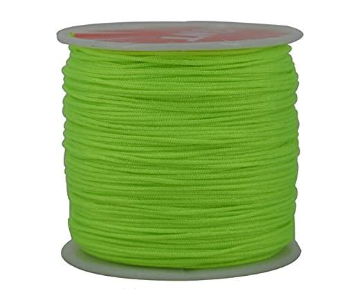 XKMY 1 rollo de cuerda de nailon de 45 m x 0,8 mm para collar de macramé, pulsera de cordón trenzado, borlas de hilo de cuentas de hilo de seda (color verde fluorescente)