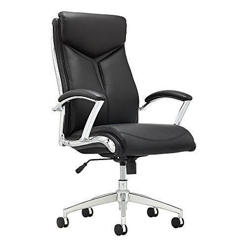Realspace Verismo Bonded Leather Executive High-Back Chair, Black/Chrome