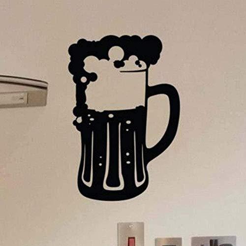 Pegatinas de vinilo para pared decoración de la pared pegatinas de bricolaje decoración taza de cerveza espuma de cerveza impermeable cocina arte bar decoración del hogar 86X57Cm