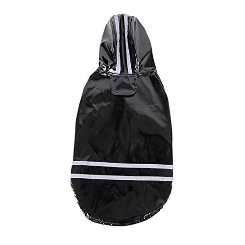 Xinger hond regenjas zomer outdoor waterdichte capuchon mantel jassenregenjas voor honden katten kleding kledingvoor kleine middelgrote huisdieren, zwart, xl