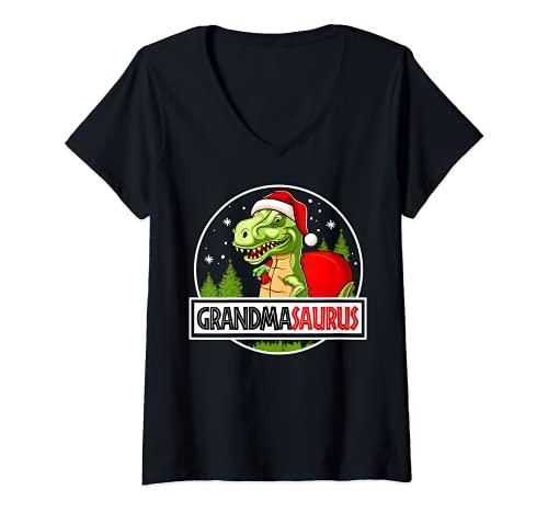 Mujer Grandmasaurus Grandma Dinosaur Regalo de Navidad para la abuela Camiseta Cuello V
