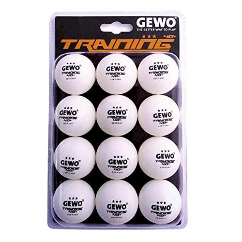GEWO - Pelota de Entrenamiento 40+, Paquete de 12 Unidades, Unisex Adulto, Pelota de Ping Pong, 85931200, Blanco, 40 mm