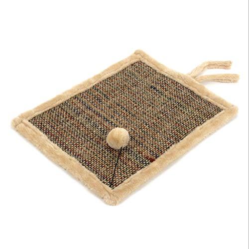 Hongyan Łóżka dla zwierząt dwustronna sizalowa składana mata dla kota śliczna kula kot pazur podkładka A+ (kolor: Brązowy, rozmiar: darmowy kod)