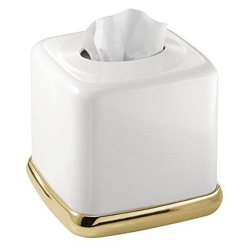 mDesign Kosmetiktücherbox quadratisch - praktische Tissuebox für das Badezimmer aus Metall mit weißem Finish und Gold-Akzenten - Papiertuchbox in modernem & minimalistischem Design